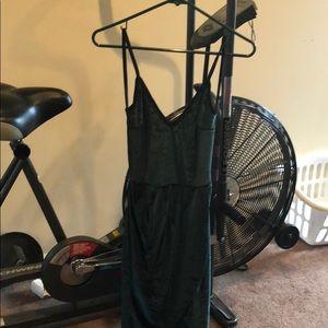 ROMWE dark green velvet dress